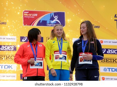 TAMPERE, FINLAND, July 12: Alina Shukh (Ukraine) win javelin throw final in the IAAF World U20 Championship in Tampere, Finland 12th July, 2018.