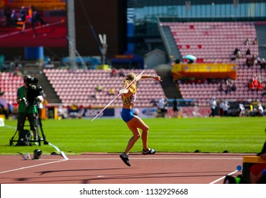 TAMPERE, FINLAND, July 12: Alina Shukh (Ukraine) win javelin throw final in the IAAF World U20 Championship in Tampere, Finland 12th July, 2018