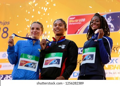 TAMPERE, FINLAND, July 12: ANDREA MIKLOS (ROU) win silver, HIMA DAS  (India) gold, TAYLOR MANSON (USA) bronze medal in 400 metrs on the IAAF World U20 Championship in Tampere, Finland 12 July, 2018