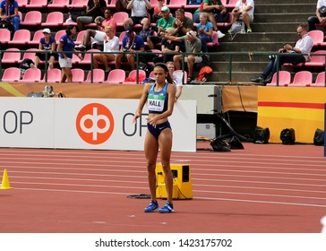 TAMPERE, FINLAND,  July 12: ANNA HALL (USA), american track and field athlete on heptathlon event in the IAAF World U20 Championship Tampere, Finland 12th July, 2018.