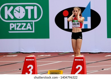 TAMPERE, FINLAND,  July 12: ANNIK KALIN (SWITZERLAND) on the start of the 100 meters hurdles in heptathlon event on the IAAF World U20 Championship Tampere, Finland 12th July, 2018.