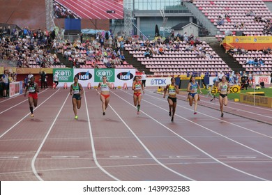 TAMPERE, FINLAND, July 12: Atheletes running at 100 metres semi-final in the IAAF World U20 Championship in Tampere, Finland 12 July, 2018.