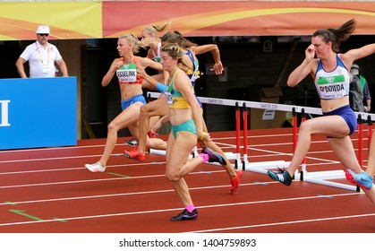 TAMPERE, FINLAND, July 12: Athletes running 100 meters hurdles on IAAF World U20 Championships in Tampere, Finland 12 July, 2018