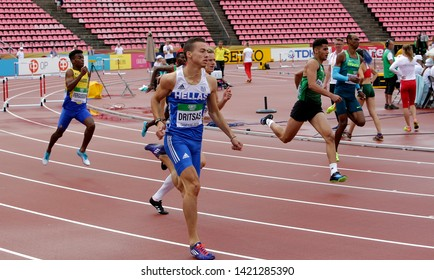 TAMPERE, FINLAND, July 12: Athlets running 400 metrs hurdles heats on the IAAF World U20 Championship in Tampere, Finland 12 July, 2018.