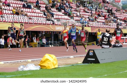 TAMPERE, FINLAND, July 12: Athlets running 200 metrs heats in IAAF World U20 Championship in Tampere, Finland 12 July, 2018.