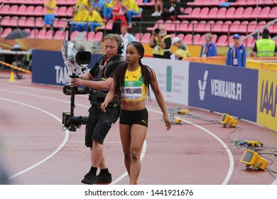 TAMPERE, FINLAND, July 12: BRIANA WILLIAMS win 100 metres final in the IAAF World U20 Championship in Tampere, Finland 12 July, 2018.