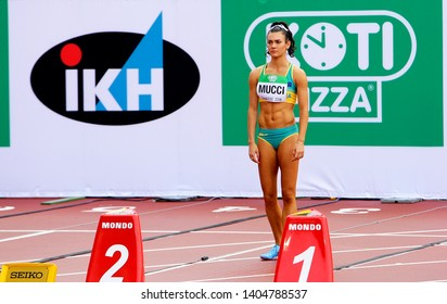 TAMPERE, FINLAND,  July 12: CELESTE MUCCI (AUSTRALIA) on the start of the 100 meters hurdles in heptathlon event on the IAAF World U20 Championship Tampere, Finland 12th July, 2018.