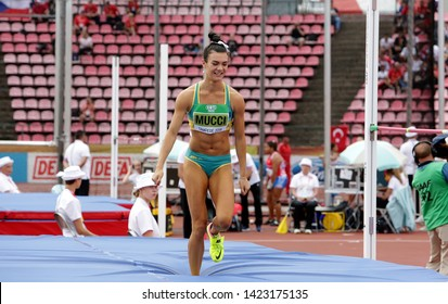 TAMPERE, FINLAND,  July 12: CELESTE MUCCI (AUSTRALIA) on high jump heptathlon event in the IAAF World U20 Championship Tampere, Finland 12 July, 2018.