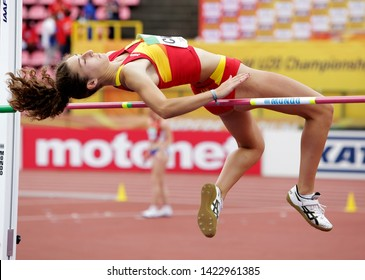 TAMPERE, FINLAND,  July 12: CLAUDIA CONTE (SPAIN) on high jump heptathlon event in the IAAF World U20 Championship Tampere, Finland 12 July, 2018.