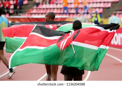 TAMPERE, FINLAND,  July 12: GEORGE MEITAMEI MANANGOI and JUSTUS SOGET from Kenya win gold and bronze medals in 1500m at the IAAF World U20 Championships in Tampere, Finland on July 12, 2018.