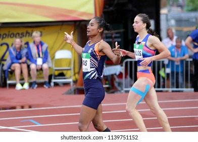 TAMPERE, FINLAND, July 12: HIMA DAS  (India) win gold medal in 400 metrs on the IAAF World U20 Championship in Tampere, Finland 12th July, 2018.