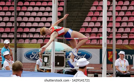 TAMPERE, FINLAND,  July 12: IDA EIKENG (NORWAY) on high jump heptathlon event in the IAAF World U20 Championship Tampere, Finland 12 July, 2018.