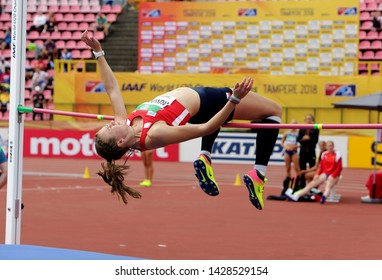 TAMPERE, FINLAND,  July 12: JANA NOVOTNA (CZECH REPUBLIC) on high jump heptathlon event in the IAAF World U20 Championship Tampere, Finland 12 July, 2018.
