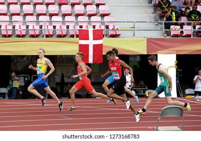 TAMPERE, FINLAND, July 12: KASPER KADESTAL (SWE), BARTOSZ ZIELINSKI (POL), WILLIAM REAIS (SUI), RUBEN ELS (RSA) on 200 metrs heats in IAAF World U20 Championship in Tampere, Finland 12 July, 2018.