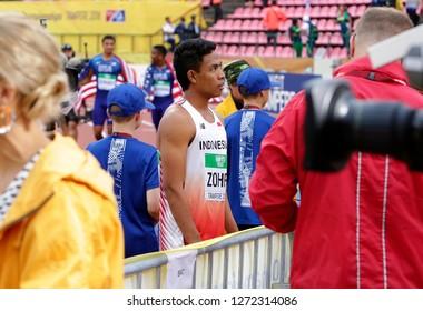 TAMPERE, FINLAND, July 12: LALU MUHAMMAD ZOHRI  (Indonesia) win gold medal in 100 metrs on the IAAF World U20 Championship in Tampere, Finland 12 July, 2018.