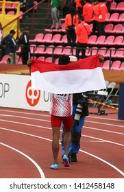 TAMPERE, FINLAND, July 12: LALU MUHAMMAD ZOHRI  (Indonesia) win gold medal in 100 metrs on the IAAF World U20 Championship in Tampere, Finland 12th July, 2018.