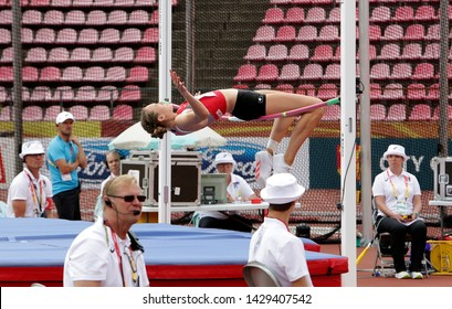 TAMPERE, FINLAND,  July 12: MATHILDE REY (SWITZERLAND) on high jump heptathlon event in the IAAF World U20 Championship Tampere, Finland 12 July, 2018.