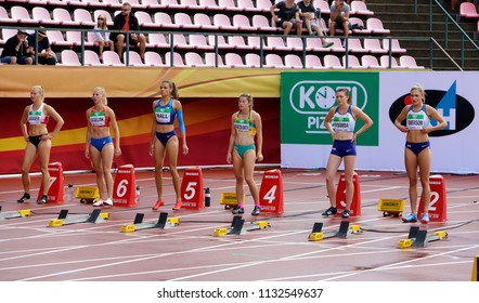 TAMPERE, FINLAND,  July 12: NIAMH EMERSON (GBR), English track and field  field athlete leeds in heptathlon in the IAAF World U20 Championship Tampere, Finland 12th July, 2018.