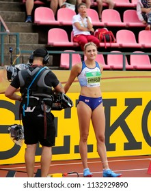 TAMPERE, FINLAND,  July 12: NIAMH EMERSON (GBR), English track and field athlete leeds in heptathlon in the IAAF World U20 Championship Tampere, Finland 12th July, 2018.