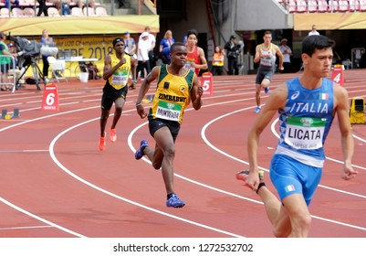 TAMPERE, FINLAND, July 12: NORMAN MUKWADA from ZIMBABWE run 400 metrs hurdles heats on the IAAF World U20 Championship in Tampere, Finland 12 July, 2018.