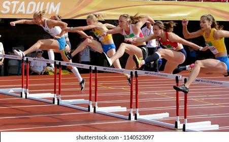 TAMPERE, FINLAND, July 12: SANNI PAJASMAA (FIN), Alina Shukh (Ukraine), ANDREA OBETZHOFER (AUT), JANA NOVOTNA (CZE), DARIA DIKHANOVA on IAAF World U20 Championships in Tampere, Finland 12 July, 2018