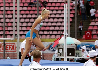 TAMPERE, FINLAND,  July 12: SANNI PAJASMAA (FINLAND) on high jump heptathlon event in the IAAF World U20 Championship Tampere, Finland 12 July, 2018.