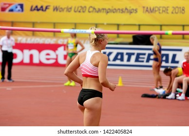 TAMPERE, FINLAND,  July 12: SARAH LAGGER (AUSTRIA), on high jump in heptathlon (win silver summary) in the IAAF World U20 Championship Tampere, Finland 12 July, 2018.
