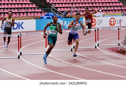 TAMPERE, FINLAND, July 12: SOKWAKHANA ZAZINI from SOUTH AFRICA win gold on 400 metres hurdles in the IAAF World U20 Championship in Tampere, Finland 13 July, 2018.