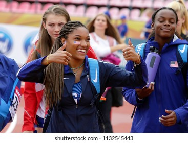 TAMPERE, FINLAND,  July 12: TARA DAVIS (USA) on the long jump in Tampere, Finland 9th July, 2018. The IAAF World U20 Championships on July 12, 2018.