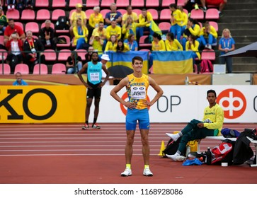 TAMPERE, FINLAND,  July 12:  VLADYSLAV LAVSKYY  from Ukraine on high jump event on IAAF World U20 Championship Tampere, Finland 12th July, 2018.