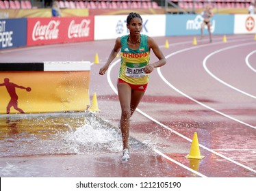 TAMPERE, FINLAND, July 13: AGRIE BELACHEW from Ethiopia in 3000 metres steeplechase in the IAAF World U20 Championship in Tampere, Finland 13th July, 2018.