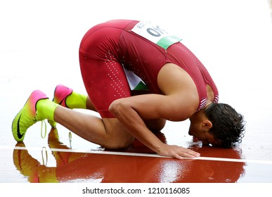 TAMPERE, FINLAND, July 13: BASSEM HEMEIDA from Qatar win silver on 400 metres hurdles in the IAAF World U20 Championship in Tampere, Finland 13 July, 2018.
