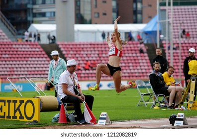 TAMPERE, FINLAND, July 13: KLAUDIA ENDRESZ (HUN) on the long jump final in the IAAF World U20 Championship Tampere, Finland 13th July, 2018