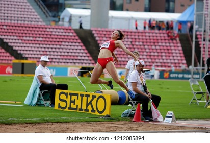 TAMPERE, FINLAND, July 13: LUYING GONG from China on the long jump final in the IAAF World U20 Championship Tampere, Finland 13th July, 2018