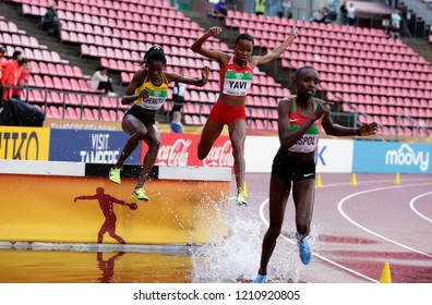 TAMPERE, FINLAND, July 13: PERUTH CHEMUTAI, WINFRED MUTILE YAVI, CELLIPHINE CHEPTEEK CHESPOL  running 3000 metres steeplechase in the IAAF World U20 Championship in Tampere, Finland 13 July, 2018.