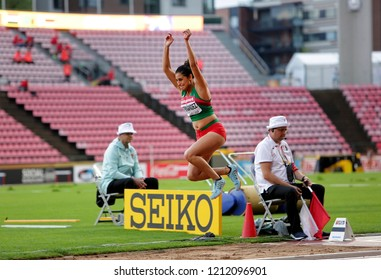 TAMPERE, FINLAND, July 13: SUSANA HERNANDEZ from Mexico on the long jump final in the IAAF World U20 Championship Tampere, Finland 13 July, 2018