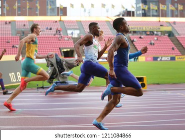 TAMPERE, FINLAND, July 13: ZANE BRANCO (AUS), JONA EFOLOKO (GBR) and ERIC HARRISON (USA) running in 200 metres final on the IAAF World U20 Championship in Tampere, Finland 13 July, 2018
