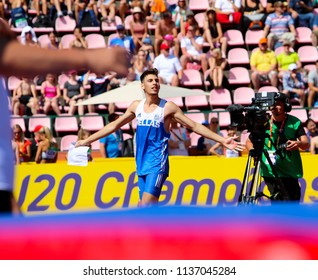 TAMPERE, FINLAND,  July 14:  ANTONIOS MERLOS from Greece wins high jump event on IAAF World U20 Championship Tampere, Finland 14th July, 2018.