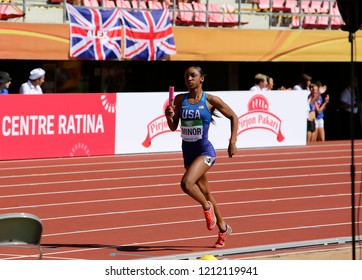 TAMPERE, FINLAND, July 14: ARRIA MINOR from USA running 4x400 metres relay in the IAAF World U20 Championship in Tampere, Finland 14th July, 2018.