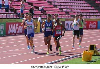 TAMPERE, FINLAND, July 14: Athletes running 800 meter run in the IAAF World U20 Championship in Tampere, Finland 14th July, 2018.