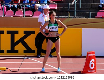 TAMPERE, FINLAND, July 14: POLINA MILLER from Russia on 200 metres final in the IAAF World U20 Championship in Tampere, Finland 14 July, 2018.