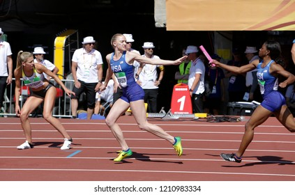 TAMPERE, FINLAND, July 14: Shae ANDERSON and Symone MASON from USA running 4x400 metres relay in the IAAF World U20 Championship in Tampere, Finland 14th July, 2018.