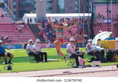TAMPERE, FINLAND,  July 15: ALEKSANDRA NACHEVA win gold medal in the triple jump on the IAAF World U20 Championship Tampere, Finland 15th July, 2018.