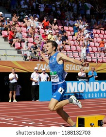 TAMPERE, FINLAND, July 15: Edoardo Scotti winning 4X400 meters relay in the IAAF World U20 Championship in Tampere, Finland 15th July, 2018.
