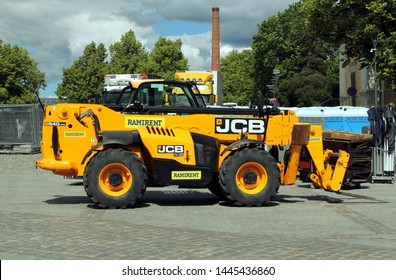Tampere, Finland - July 4 2019: The JCB 540-170 Telescopic Handler has a 17 metre reach.