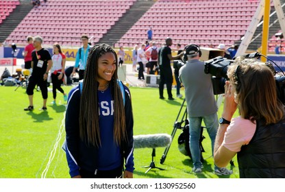 TAMPERE, FINLAND,  July 9: TARA DAVIS (USA) on the press conference in Tampere, Finland 9th July, 2018. The IAAF World U20 Championships be held in on July 10-15, 2018.
