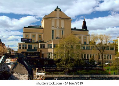 Tampere, Finland - May 14 2019: The view of the Tampere Theatre on the Central Square of Tampere. Tampere Theatre is one of the oldest theaters in Finland, founded in 1904.