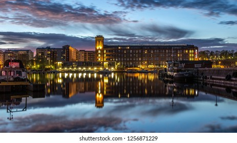 Tampere, Finland - May 20 2017: Holiday Club Spa hotel located in the central city of Tampere, in the Lapinniemi district by lake Näsijärvi, built into a century-old cotton mill.