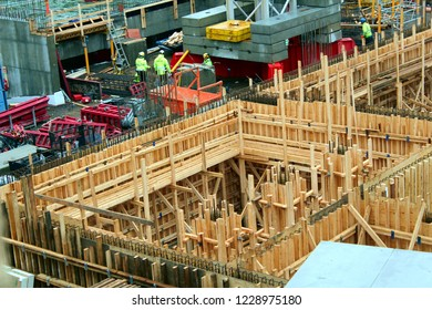 Tampere, Finland - November 13 2018:  Tampere Deck and Arena project construction site.