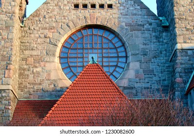 Tampere, Finland - November 14 2018:  The church round window. Tampere Cathedral is a Lutheran church in Tampere, Finland, and the seat of the Diocese of Tampere.